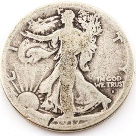 1917 S (Obverse) Walking Liberty Silver Half Dollar: A 1917 S (Obverse) Walking Liberty silver half dollar. Designer: Adolph Alexander Weinman. Mintage: 952,000. Metal content: 90% silver, 10% copper. Diameter: 30 mm. Weight: approximately 12.5 grams. Circulated. Poor condition.