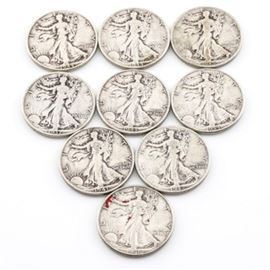 Group of Nine Walking Liberty Silver Half Dollars with Years Ranging from 1937 to 1946: A group of nine Walking Liberty silver half dollars with years ranging from 1937 to 1946. Designer: Adolph Alexander Weinman. Metal content: 90% silver, 10% copper. Diameter: 30 mm. Weight: approximately 12.5 grams (each). The coins are circulated and vary from fair to good condition.