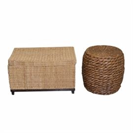 Woven Trunk With Round Side Table