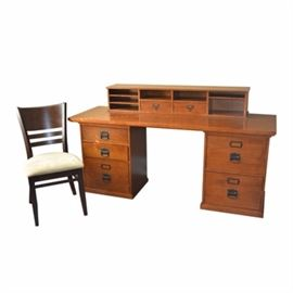 Wooden File Desk With Chair