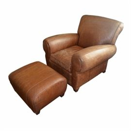 Pottery Barn Brown Leather Chair with Ottoman
