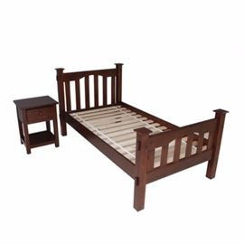 Hickory Twin Bed And Night Stand