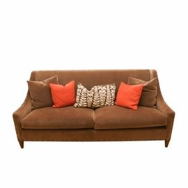 Hickory Chair Sofa In Brown Velvet Five Pillows
