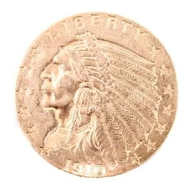Gold United States 1910 Two and One-Half Dollar Indian Head Coin: A gold United States 1910 two and one-half dollar Indian Head coin. The 90% gold and 10% copper coin was designed by Bela Lyon Pratt. It weighs 4.18g and measures 18.00mm in diameter. Mintage was 492,000.