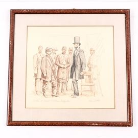 """Original Lee Dubin """"Lincoln at General McClellan's Headquarters"""": An original Lee Dubin pastel on paper artwork, Lincoln at General McClellan's Headquarters. The artwork depicting Civil War scene is created in brown, rust and black palette. It is signed to lower right and titled to lower left. The drawing is presented under glass with gold tone lined linen mat in wood grained frame. Lee Dubin (American) resides in California and is known for her detailed work depicting the nineteenth century."""