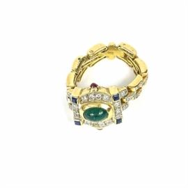18K Yellow Gold Link Ring with Diamonds and Gemstones: A yellow gold link ring with colored gemstones. The shank of the ring is made of interlocked links, set with diamonds. The crown is set with a variety of clear and colored gemstones.