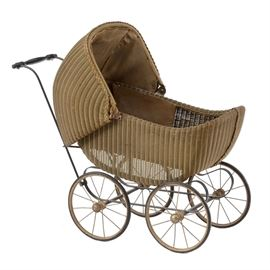 Antique Doll Carriage: An antique doll carriage. The carriage is painted wicker with a wrought iron base, spoked wheels, flippable hood and turned handle. The piece is original.