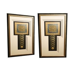 """""""Deco Medallion"""" Wall Hangings: A selection of two decorative wall hangings. This selection features Deco Medallion which depicts and embossed square with a pendant with a gold tone medallion as the end. Both pieces are unsigned and presented behind custom mats, under glass in a gold tone and black frame with D-rings attached to the verso for hanging display."""