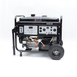 3 PLUS 6000 Watt Generator: A 3 PLUS 6000 watt gasoline generator, model MGES6000. This generator features 14HP engine, circuit breaker, power indicator, voltage selector, two pairs of 120V duplex voltage outlets, one 120/240V Twistlock outlet, recoil start, low oil shut off, large 6.6 gallon fuel tank and a full perimeter safety frame.