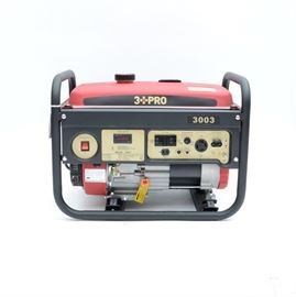 3 PRO 6.5 HP Gasoline Generator: A 3 PRO 6.5 HP gasoline generator, model HY3003. Generator features a 6.5HP (4 gallon), 4-stroke OHV gas engine breaker, power indicator, voltage selector, pair of 120V duplex voltage outlet, one 120/240V Twistlock outlet, recoil start, low oil shut off, full perimeter safety frame and EPA/CARB compliant.