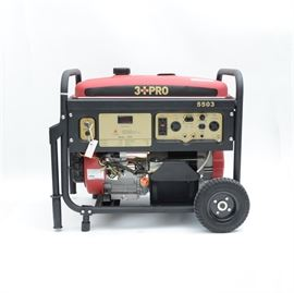 3 PRO Gasoline Generator: A 3 PRO gasoline CARB compliant generator, , model HY5503. Features two pairs of 120V duplex voltage outlets, one 120/240V Twistlock outlet, with DC output, 4 stroke OHV horizontal shaft engine, recoil and electric start, circuit breaker, power indicator, voltage selector, low oil shut off, large fuel tank and full perimeter safety frame.
