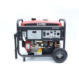 3 PRO Duel Fuel Generator: A 3 PRO duel fuel generator, model 5503DF. Generator features 4 stroke, air OHV horizontal shaft gas engine, EPA/CARB compliant, recoil and electric start, circuit breaker, power indicator, voltage selector, two pairs of 120V duplex voltage outlets, one 120/240V Twistlock outlet, low oil shut off, large fuel tank and full perimeter safety frame.