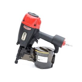 """3 PRO Framing Coil Nailer: A 3 PRO framing coil nailer, model HCN90P. The 3 PRO nailer features adjustable depth control, 360° air deflector, adjustable knob for either single sequential or contact actuation trigger, no mar rubber tip device, light-weight die-cast magnesium body, which prevents hand fatigue. Ideal for pallets, packing, decking, furring, crating, fencing, sheathing or siding, (accommodates 2""""-3 1/2"""" nails). Case and safety goggles included."""