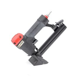 """3 PRO 21 Gauge Medium Flooring Stapler: A 3 PRO 21 gauge medium flooring stapler, model S9725. Featuring a light-weight die-cast aluminum body, rubber soft grip, quick-clear jam release, dual action trigger with flooring adaptor nose piece )3/8 – 1"""") Ideal for pre-engineered flooring and laminates. Case and goggles included."""