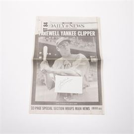 "Joe DiMaggio Autograph and ""Farewell Yankee Clipper"" Newspaper Article: A Joe DiMaggio autograph and newspaper article. Featured is a white receipt paper with DiMaggio's signature in black ink and a message reading ""Best Wishes"". Also included is New York Daily News article from March 1999, commemorating DiMaggio with an article titled ""Farewell Yankee Clipper"". DiMaggio played for the New York Yankees from 1936 till 1951 and was inducted into the Baseball Hall of Fame in 1955."
