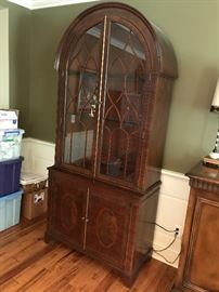 Baker Furniture Lighted China Cabinet w/ Glass Shelves
