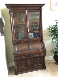 Antique Burled Walnut Secretary