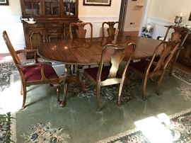 Statton Fruitwood Oval Pedestal Dining Table w/ Two Leaves, Two Fruitwood Upholstered Seat Dining Arm Chairs and Four Fruitwood Upholstered Seat Dining Side Chairs