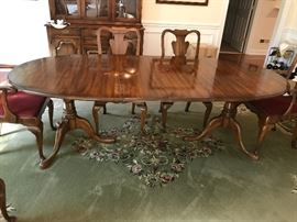 Statton Fruitwood Oval Pedestal Dining Table w/ Two Leaves, Two Fruitwood Upholstered Seat Dining Arm Chairs and Four Fruitwood Upholstered Seat Dining Side Chairs - Table Detail