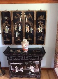 WALL HANGING JAPANESE MOTHER OF PEARL  & BLACK LAQUER CABINET PAINTED VINTAGE 1970'S