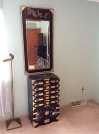 VINTAGE 1970'S JAPANESE PAINTED TALL CHEST WITH DRAWERS \ WALL MIRROR