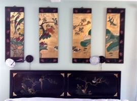 JAPANESE PAINTED 4 SECTION WALL HANGING \\ KING SIZE BED HEAD BOARD & MATTRESS ALSO ORIENTAL PAINTED