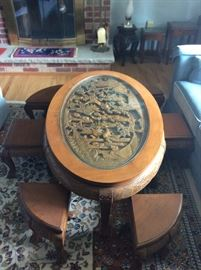 JAPANESE CARVED SAKI TABLE WITH PULL OUT STOOLS