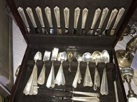 """101 pieces of Westmoreland """"Lady Hilton"""" Sterling flatware."""