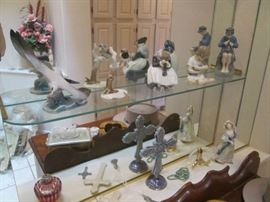 Plenty of Figurines; names like Royal Copenhagen, Rosenthal, Doulton, Hutschenreuther