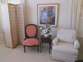 Sweet little Accent Table, Accent Chair, 3-Panel Screen and A Framed Degas