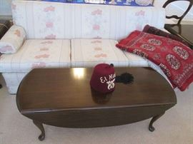 Drop-leaf Coffee Table and 2 matching End Tables, Sofa and great RED rug. Shriner's Hat, anyone?