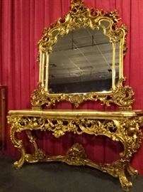 SPECTACULAR ROCOCO CONSOLE TABLE WITH ONYX TOP AND MIRROR - 8 FT. WIDE - THIS ITEM IS AUCTION ONLY!