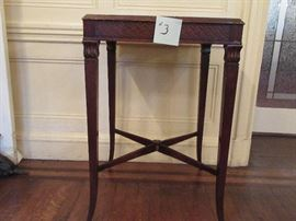 3 END TABLE WOOD LEATHER