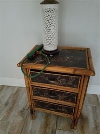 Cool Bamboo and black nightstand