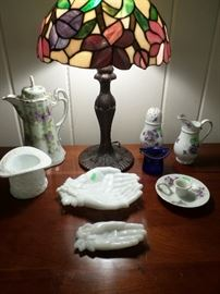 Some of the milk glass as well as a few sweet pieces of vintage violet porcelain