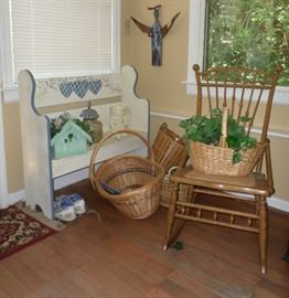 small bench seat, wicker baskets & a great vintage rocking chair