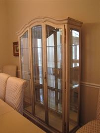 Light white washed solid wood china cabinet with glass shelves - image #2