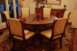 Beautiful 60 Inch Round Wood Pedestal Dining Room Table with Starburst Pattern with Six Chairs