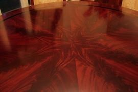 Round Wood Pedestal Dining Room Table with Starburst Pattern