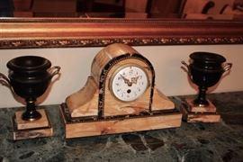 Antique Clock with Garnitures