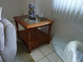 Oak End/Side Table. Glass Insert with small drawer. 2 Matching end tables