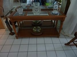 Oak Sofa Table with Glass Inserts