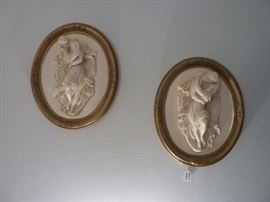 Vintage Wall Decoration- 3 D Large Oval Lovers