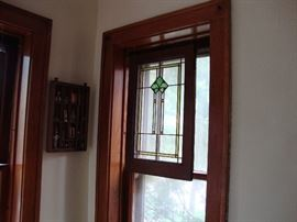 Four matching Stained Glass Windows with oak frames