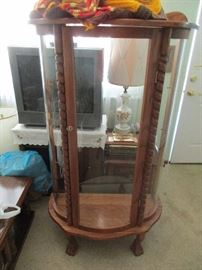 CURVED GLASS CABINET WE HAVE GLASS SHELVE