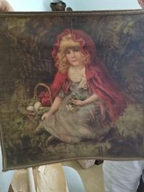 VINTAGE RED RIDING HOOD TAPESTRY 18 X 18