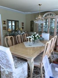 BERNHARDT, OAK DINING TABLE WITH 2 LEAVES AND 12 CHAIRS, CRYSTAL DROP CHANDELIER,  BERNHARDT CHINA CABINET AND  SERVER WITH SLATE TOP EXTENSIONS