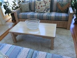 TUSCAN DETAILING OF SOFA AND OAK COFFEE TABLE