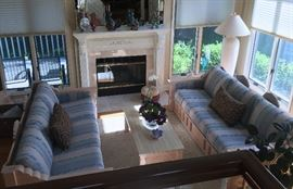 GORGEOUS, TUSCAN, SOLID OAK FRAME COUCHES, WITH MATCHING COFFEE TABLE, AREA RUG AND ACCESSORIES
