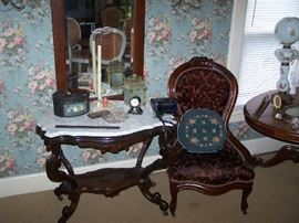 TURTLE-TOP MARBLE-TOP TABLE, VICTORIAN LADY'S CHAIR & MISC.
